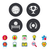 Volleyball and net icons. Winner award cup. Volleyball and net icons. Winner award cup and laurel wreath symbols. Beach sport symbol. Calendar, Information and Royalty Free Stock Image
