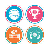 Volleyball and net icons. Winner award cup. Volleyball and net icons. Winner award cup and laurel wreath symbols. Beach sport symbol. Colored circle buttons Stock Photo