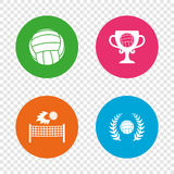 Volleyball and net icons. Winner award cup. Volleyball and net icons. Winner award cup and laurel wreath symbols. Beach sport symbol. Round buttons on Stock Images