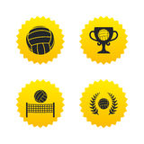 Volleyball and net icons. Winner award cup. Volleyball and net icons. Winner award cup and laurel wreath symbols. Beach sport symbol. Yellow stars labels with Stock Image