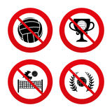 Volleyball and net icons. Winner award cup. No, Ban or Stop signs. Volleyball and net icons. Winner award cup and laurel wreath symbols. Beach sport symbol Stock Image