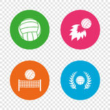 Volleyball and net icons. Winner laurel wreath. Volleyball and net icons. Winner award laurel wreath symbols. Fireball and beach sport symbol. Round buttons on Stock Image