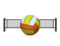 A Volleyball and Net Isolated on White Illustration Stock Photo