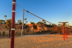 Volleyball net in the morning on beach, Egypt Royalty Free Stock Image