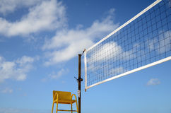 Volleyball Net And Referees Chair stock photo
