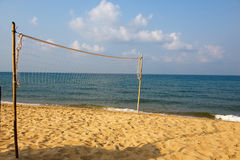 Volleyball net on the sea beach Royalty Free Stock Photo