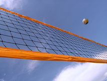 Volleyball net and sky stock photo