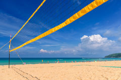 Volleyball net on the tropical beach Royalty Free Stock Photography