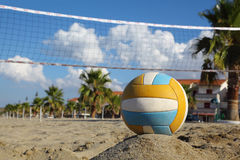 Volleyball net, volleyball on beach and palm trees. Focus on ball Stock Photography