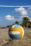 Volleyball net, volleyball on beach and palm trees. Focus on ball Stock Images