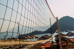Volleyball netting on the beach stock photography