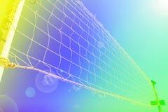 Volleyball netto op het strand stock fotografie