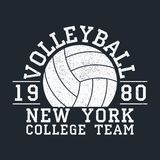 Volleyball New York grunge print for apparel with ball. Typography emblem for t-shirt. Design for athletic clothes. Vector. Volleyball New York grunge print for Stock Photos