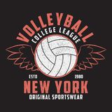 Volleyball New York grunge print for apparel with ball and wings. Typography emblem for t-shirt. Design for athletic clothes. Vector illustration Royalty Free Stock Photography