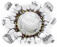 Volleyball and Old Plaster wall damage. Illustration background stock illustration