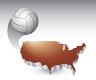 Volleyball over united states icon Royalty Free Stock Photos