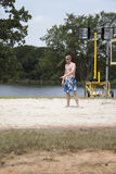 Volleyball Player. A man pointing at the sand during a volleyball game Stock Photos