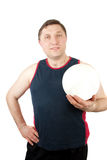 Volleyball player. Full isolated  on the white background studio  portrait picture from a volleyball player with ball Royalty Free Stock Photography