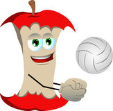 Volleyball player apple core Stock Photo