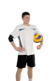 Volleyball player with the ball. On a white background royalty free stock photo