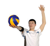 Volleyball player with the ball. On a white background royalty free stock photos