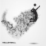 Volleyball player ball of a silhouette from particle. Royalty Free Stock Photo