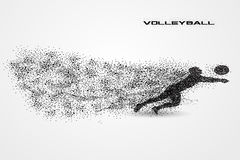 Volleyball player ball of a silhouette from particle. Volleyball player of a silhouette from particle. background and text on a separate layer. color can be Stock Photo