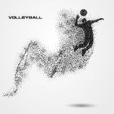 Volleyball player ball of a silhouette from particle. Stock Photography
