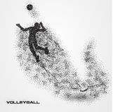 Volleyball player ball of a silhouette from particle. Volleyball player of a silhouette from particle. background and text on a separate layer. color can be Royalty Free Stock Photos