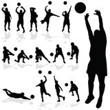 Volleyball player black silhouette in various poses Stock Photo