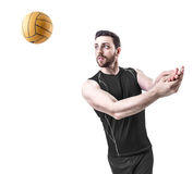 Volleyball player on black uniform on white background Royalty Free Stock Image
