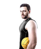 Volleyball player on black uniform on white background Stock Photo