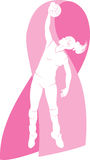 Volleyball Player with Breast Cancer Awareness Rib Stock Image