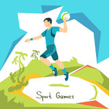 Volleyball Player Game Match Sport Competition. Flat Vector Illustration stock illustration