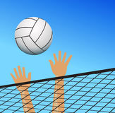 Volleyball player hands over the net with ball Stock Image