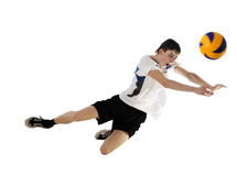 Volleyball player in high flying with a ball Stock Photos