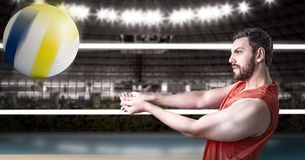 Volleyball player on red uniform in volleyball court Stock Image