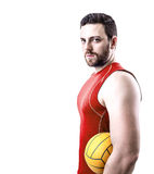 Volleyball player on red uniform on white background.  Royalty Free Stock Photos