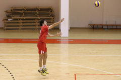Volleyball player serves the ball. Volleyball player pictured in action during the Romanian League One game between CSM Bucharest and LPS Piatra Neamt. CSM won Royalty Free Stock Photo