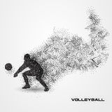 Volleyball player of a silhouette from particle. Stock Image
