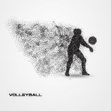 Volleyball player of a silhouette from particle. Royalty Free Stock Photography
