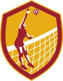 Volleyball Player Spike Ball Net Retro Shield Stock Image