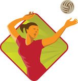 Volleyball Player Spike Ball Retro Stock Photo