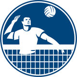 Volleyball Player Spiking Ball Circle Icon Royalty Free Stock Photos