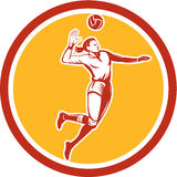 Volleyball Player Spiking Ball Circle Retro Stock Images