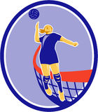 Volleyball Player Spiking Ball Oval Retro Royalty Free Stock Photo