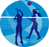 Volleyball Player Spiking Blocking Ball Royalty Free Stock Images