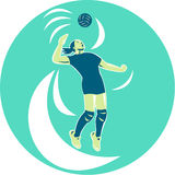 Volleyball Player Spiking High Circle Retro Stock Photography
