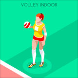 Volleyball Player Summer Games Icon Set.3D Isometric Indoor Volleyball.Sporting Championship International Volley Competition Stock Images