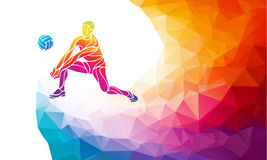 Volleyball player. Team sport vector polygonal banner Stock Photo